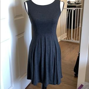 LOFT Petite Full Skirt Knit Dress OP Charcoal